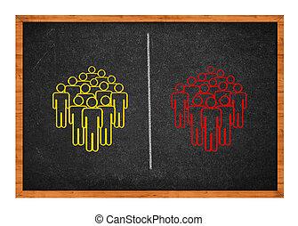 divisé, deux, groupes, gens