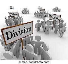 division, gens, ouvriers, départements, équipes, signes, divisé