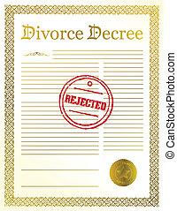divorce, décret, rejeté, papiers