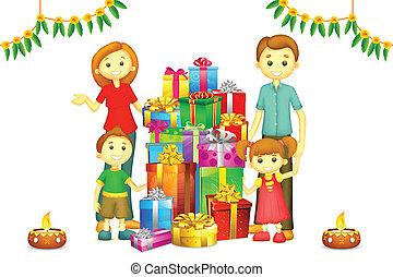 diwali, famille, cadeau
