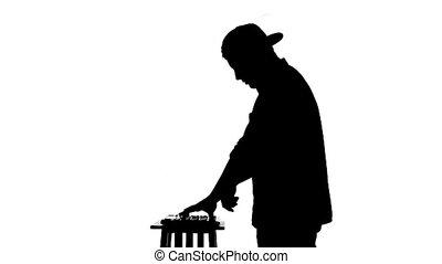 dj, mélangeur, arrière-plan noir, silhouette, blanc, jouer