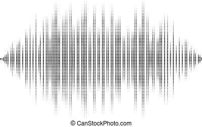 dj, waves., son, vous, usage, publicité, technologie, halftone, audio, arrière-plan., vecteur, isolated., forme onde, fête, club, radio, arrière-plan noir, blanc, concerts, ou, boîte, recitals, pub