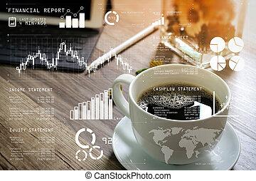 dock, table, bois, clavier, intelligent, stylus, filtre, vase, tasse, café, numérique, effet, herbes, stylo, table, fleur