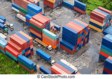 docks, fret, récipients, pile