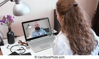 docteur, appeler, vidéo, telemedicine.
