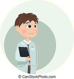 docteur, caractère, vecteur, homme, dessin animé, illustrations.