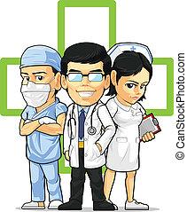 docteur, chirurgien, infirmière, &