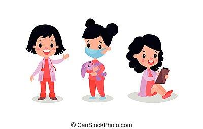 docteur, ensemble, vecteur, illustration, jouer, filles, adorable, infirmière