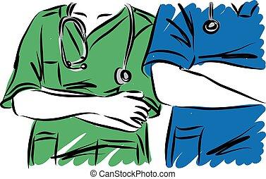 docteur femme, illustration, homme, medic, deux, vecteur, concept