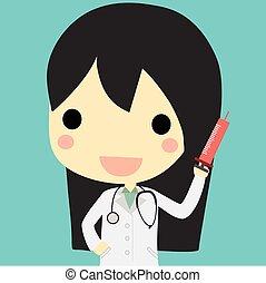 docteur femme, seringue, mignon