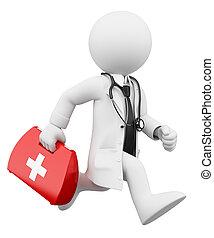 docteur, gens., kit, courant, aide, blanc, 3d, premier