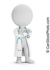 docteur, gens, -, stéthoscope, petit, 3d