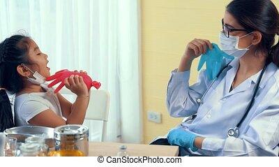 docteur hôpital, girl, école, visites, habile, vaccination