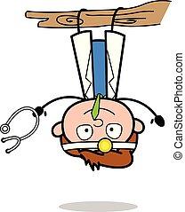 docteur, -, illustration, bas, vecteur, dessus, pendre, professionnel, dessin animé