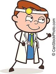 docteur, illustration, courant, vecteur, dessin animé, heureux