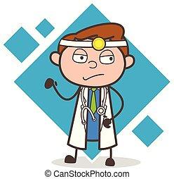 docteur, illustration, triste, vecteur, expression faciale, dessin animé