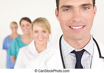 docteur, infirmières, monde médical, femme, équipe, mâle