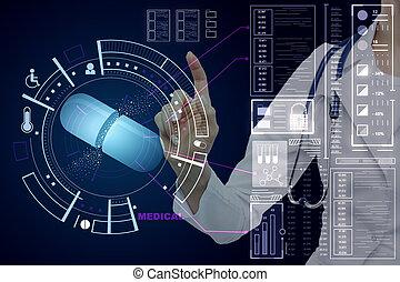 docteur, interface, pousser, monde médical