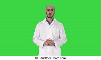 docteur, key., manteau, monde médical, chroma, main, arabe, conversation, vert, quelque chose, homme, écran, présentation