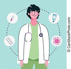 docteur, médicament, stéthoscope, santé, seringue, soin, monde médical, vaccination