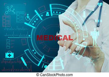docteur, monde médical, pousser, interface