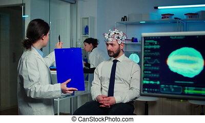 docteur, neurologique, vue, presse-papiers, médecine, pointage, essai