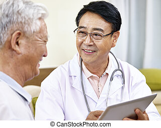 docteur, patient, conversation, asiatique