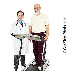 docteur, personne agee, crise, homme
