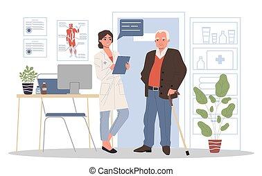 docteur, personne agee, visiter, patient, bureau