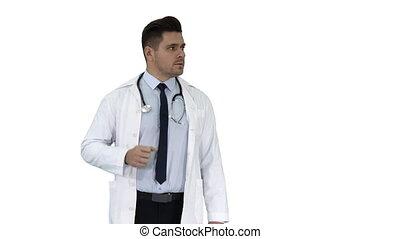docteur, projection, lui, arrière-plan., quelque chose, sourire, blanc, heureux