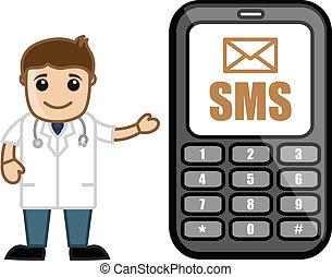 docteur, sms, monde médical, &, -, alerte