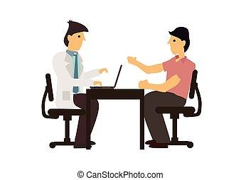 docteur, table, patient, consultation, conversation, concept., hospital., monde médical