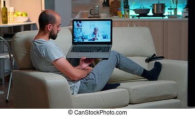 docteur, telemedicine, ligne, pendant, malade, videocall, patient, conversation