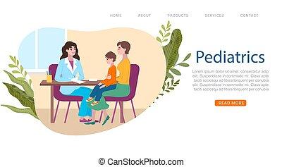 docteur, vecteur, bannière, dessin animé, petite mère, toile, pediatrist, monde médical, medics, illustration., consultation, gosses, pédiatre, patient