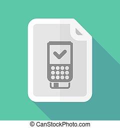 document, dataphone, icône, long, ombre