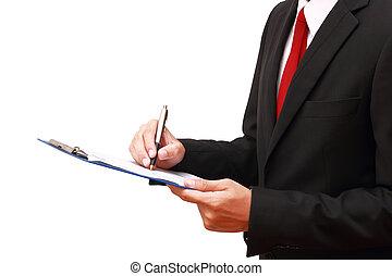 document, homme affaires, analyser