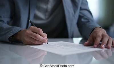document, homme, signes