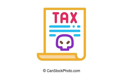 document, impôt, animation, icône
