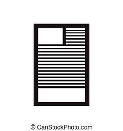 document, noir, icône, blanc, plat