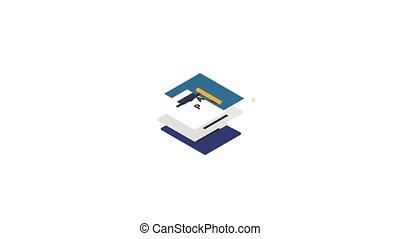 document, plan, animation, icône
