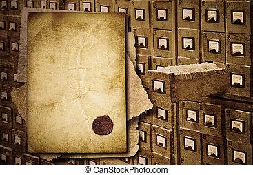 documents, tas, fond, vieux, cabinet, sur, archive