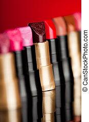 dof), beaucoup, (shallow, fond, rouges lèvres, rouges