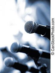 dof), microphone, résumé, (shallow, arrière plan flou