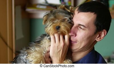 dog., amour, intérieur, animaux familiers, amical, homme