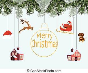 dog., branches, santa, traîneau, noël., année, jouets, illustration, cerf, divers, maisons, joyeux, pendre, impeccable, nouveau, chapeau