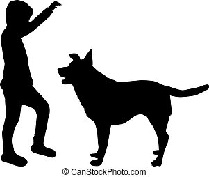 dog., garçon, silhouette