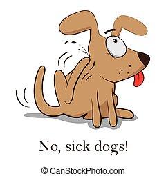 dog., symptômes, bites., puce, illustration, bugs., arrière-plan., vecteur, life., grattement, animal., blanc