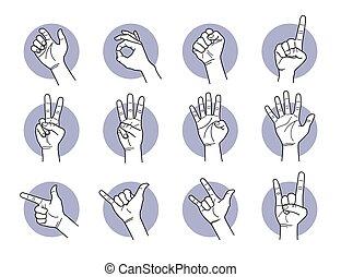 doigt, main, gestures.
