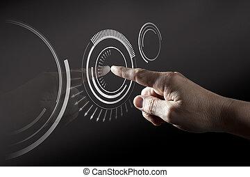 doigt, toucher, numérique, écran, toucher