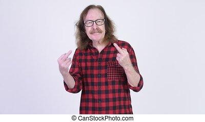 doigts, fâché, hipster, projection, personne agee, milieu, homme